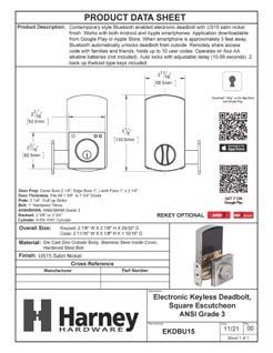 Product Data Specification Sheet Of A Bluetooth Electronic Keyless Deadbolt, Square Escutcheon - Satin Nickel Finish - Product Number EKDBU15