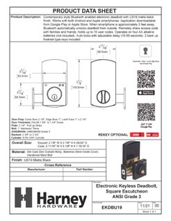Product Data Specification Sheet Of A Bluetooth Electronic Keyless Deadbolt, Square Escutcheon - Matte Black Finish - Product Number EKDBU19