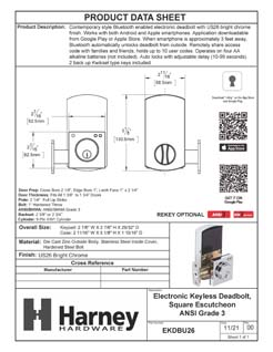 Product Data Specification Sheet Of A Bluetooth Electronic Keyless Deadbolt, Square Escutcheon - Chrome Finish - Product Number EKDBU26
