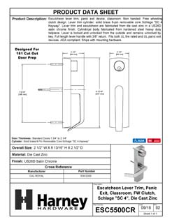 Product Data Specification Sheet Of A Panic Exit Device Classroom / Keyed Function Escutcheon Lever Trim - Satin Chrome Finish - Product Number ESC5500CR