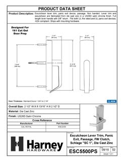 Product Data Specification Sheet Of A Panic Exit Device Passage/ Hallway Function Escutcheon Lever Trim - Satin Chrome Finish - Product Number ESC5500PS
