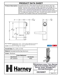 Product Data Specification Sheet Of A Narrow Stile / Cross Bar Exit Device Keyed / Entry Function Lever Trim - Powder Coated Aluminum Finish - Product Number ESCN95ET