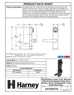 Product Data Specification Sheet Of A Narrow Stile / Cross Bar Exit Device Keyed / Entry Function Lever Trim - Powder Coated Bronze Finish - Product Number ESCN95ETB