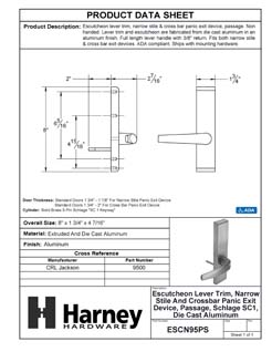 Product Data Specification Sheet Of A Narrow Stile / Cross Bar Exit Device Passage / Hallway Function Lever Trim - Powder Coated Aluminum Finish - Product Number ESCN95PS