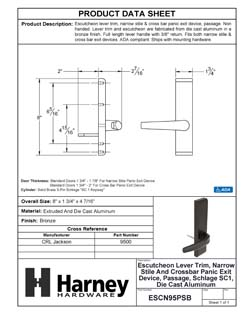Product Data Specification Sheet Of A Narrow Stile / Cross Bar Exit Device Passage / Hallway Function Lever Trim - Powder Coated Bronze Finish - Product Number ESCN95PSB