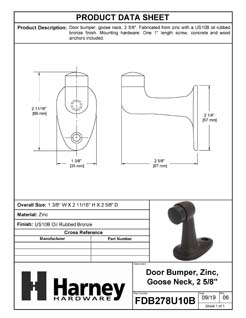 Product Data Specification Sheet Of A Goose Neck Floor Stop, 2 5/8 In. High - Oil Rubbed Bronze Finish - Product Number FDB278U10B
