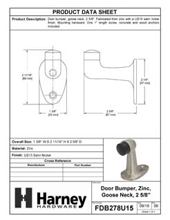 Product Data Specification Sheet Of A Goose Neck Floor Stop, Solid Brass, 2 5/8 In. High - Satin Nickel Finish - Product Number FDB278U15