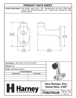 Product Data Specification Sheet Of A Goose Neck Floor Stop, 2 5/8 In. High - Chrome Finish - Product Number FDB278U26