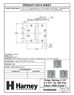 Product Data Specification Sheet Of A Commercial Door Spring Hinges, UL Fire Rated, 4 1/2 In. X 4 1/2 In., 3 Pack - Satin Chrome Finish - Product Number HH206026D