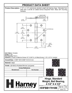 Product Data Specification Sheet Of A Commercial Door Hinges, Ball Bearing, 4 1/2 In. X 4 1/2 In., 3 Pack - Oil Rubbed Bronze Finish - Product Number HHFBB17910B