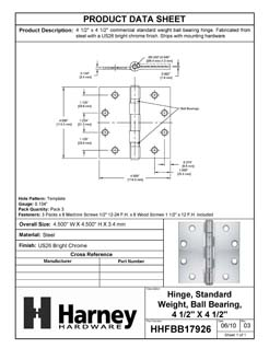Product Data Specification Sheet Of A Commercial Door Hinges, Ball Bearing, 4 1/2 In. X 4 1/2 In., 3 Pack - Chrome Finish - Product Number HHFBB17926
