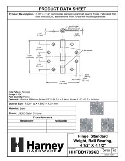 Product Data Specification Sheet Of A Commercial Door Hinges, Ball Bearing, 4 1/2 In. X 4 1/2 In., 3 Pack - Satin Chrome Finish - Product Number HHFBB17926D