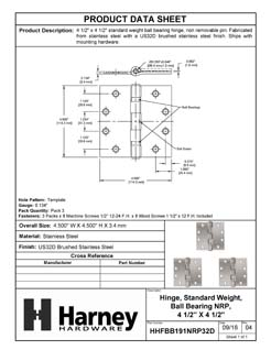 Product Data Specification Sheet Of A Commercial Door Hinges, Ball Bearing, NRP, 4 1/2 In. X 4 1/2 In., 3 Pack - Satin Stainless Steel Finish - Product Number HHFBB191NRP32D