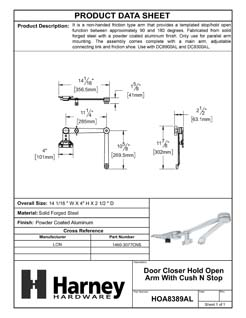 Product Data Specification Sheet Of A Door Closer Hold Open Arm With Cush N Stop - Aluminum Finish - Product Number HOA8389AL
