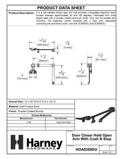 Product Data Specification Sheet Of A Door Closer Hold Open Arm With Cush N Stop - Bronze Finish - Product Number HOA8389DU