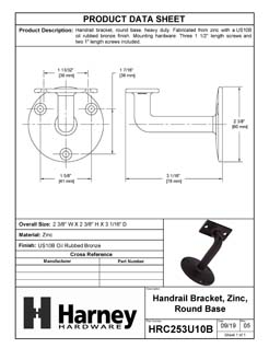 Product Data Specification Sheet Of A Handrail Bracket, Solid Brass - Oil Rubbed Bronze Finish - Product Number HRC253U10B