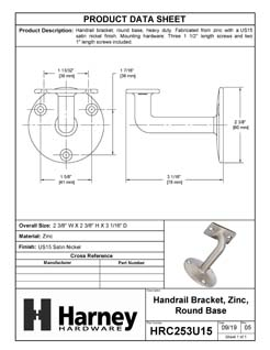 Product Data Specification Sheet Of A Handrail Bracket, Solid Brass - Satin Nickel Finish - Product Number HRC253U15