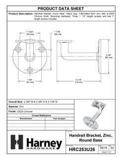 Product Data Specification Sheet Of A Handrail Bracket, Heavy Duty, Round Wall Mounting Escutcheon, Three Wall Mounting Screws - Chrome Finish - Product Number HRC253U26