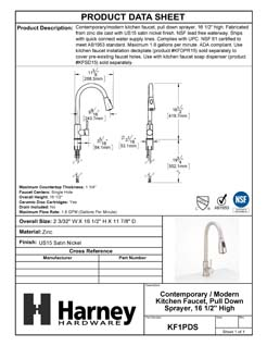 Product Data Specification Sheet Of A Kitchen Sink Faucet Contemporary / Modern, Pull Down Spray, 16 1/2 In, High - Satin Nickel Finish - Product Number KF1PDS