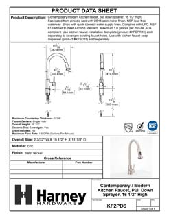 Product Data Specification Sheet Of A Kitchen Sink Faucet Contemporary / Modern, Pull Down Spray, 16 1/2 In, High - Satin Nickel Finish - Product Number KF2PDS