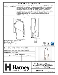 Product Data Specification Sheet Of A Kitchen Sink Faucet Contemporary / Modern, Pull Down Spray, 18 1/8 In, High - Satin Nickel Finish - Product Number KF3PDS