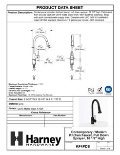 Product Data Specification Sheet Of A Kitchen Sink Faucet Contemporary / Modern, Pull Down Spray, 16 1/2 In, High - Matte Black Finish - Product Number KF4PDS
