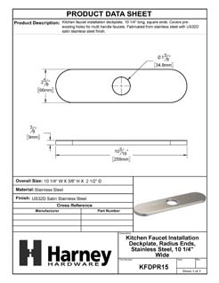 Product Data Specification Sheet Of A Kitchen Faucet Installation Deckplate, Radius Ends, Stainless Steel, 10 1/4 In. Wide - Satin Stainless Steel Finish - Product Number KFDPR15