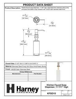 Product Data Specification Sheet Of A Kitchen Faucet Soap Dispenser, 10 5/8 In. High - Satin Stainless Steel Finish - Product Number KFSD15