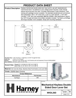 Product Data Specification Sheet Of A Mechanical Keyless Double Sided Door Lever Set - Satin Chrome Finish - Product Number MKDL26D