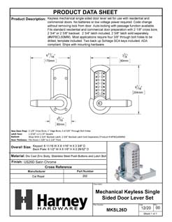 Product Data Specification Sheet Of A Mechanical Keyless Single Sided Door Lever Set - Satin Chrome Finish - Product Number MKSL26D