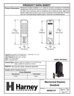 Product Data Specification Sheet Of A Mechanical Keyless Deadbolt Door Lock - Venetian Bronze Finish - Product Number MPBD11P
