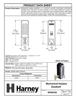 Product Data Specification Sheet Of A Mechanical Keyless Deadbolt Door Lock - Satin Chrome Finish - Product Number MPBD26D