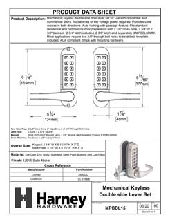 Product Data Specification Sheet Of A Mechanical Keyless Double Sided Door Lever Set - Satin Nickel Finish - Product Number MPBDL15