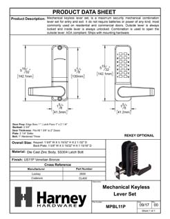 Product Data Specification Sheet Of A Mechanical Keyless Lever Set Door Lock - Venetian Bronze Finish - Product Number MPBL11P
