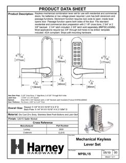 Product Data Specification Sheet Of A Mechanical Keyless Single Sided Door Lever Set - Satin Nickel Finish - Product Number MPBL15