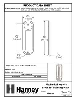 Product Data Specification Sheet Of A Mechanical Keyless Lever Set Mounting Plates - Satin Nickel Finish - Product Number MPBMP