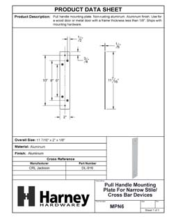 Product Data Specification Sheet Of A Pull Handle Mounting Plate For Narrow Stile / Cross Bar Devices - Powder Coated Aluminum Finish - Product Number MPN6