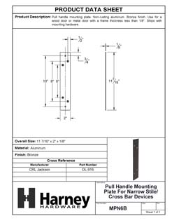 Product Data Specification Sheet Of A Pull Handle Mounting Plate For Narrow Stile / Cross Bar Devices - Powder Coated Bronze Finish - Product Number MPN6B