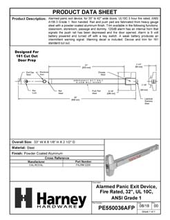 Product Data Specification Sheet Of A Alarmed Panic Exit Device, UL Fire Rated, ANSI 1, 32 In. Wide - Powder Coated Aluminum Finish - Product Number PE550036AFP