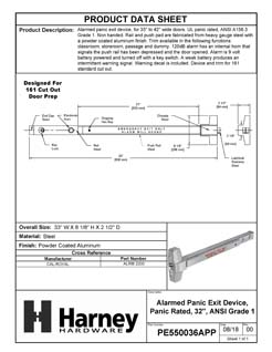 Product Data Specification Sheet Of A Alarmed Panic Exit Device, UL Panic Rated, ANSI 1, 32 In. Wide - Powder Coated Aluminum Finish - Product Number PE550036APP