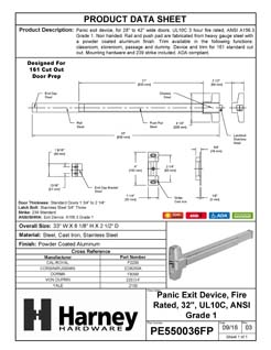 Product Data Specification Sheet Of A Panic Exit Device, UL Fire Rated, ANSI 1, 32 In. Wide - Powder Coated Aluminum Finish - Product Number PE550036FP