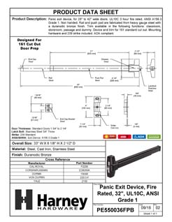 Product Data Specification Sheet Of A Panic Exit Device, UL Fire Rated, ANSI 1, 32 In. Wide - Bronze Finish - Product Number PE550036FPB