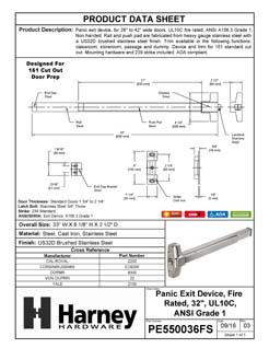 Product Data Specification Sheet Of A Panic Exit Device, UL Fire Rated, ANSI 1, 32 In. Wide - Satin Stainless Steel Finish - Product Number PE550036FS