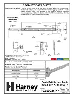 Product Data Specification Sheet Of A Panic Exit Device, UL Panic Rated, ANSI 1, 32 In. Wide - Powder Coated Aluminum Finish - Product Number PE550036PP
