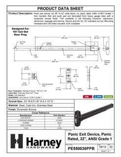 Product Data Specification Sheet Of A Panic Exit Device, UL Panic Rated, ANSI 1, 32 In. Wide - Bronze Finish - Product Number PE550036PPB