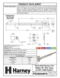 Product Data Specification Sheet Of A Panic Exit Device, UL Fire Rated, ANSI 1, 44 In. Wide - Satin Stainless Steel Finish - Product Number PE550048FS