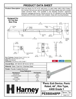 Product Data Specification Sheet Of A Panic Exit Device, UL Panic Rated, ANSI 1, 44 In. Wide - Powder Coated Aluminum Finish - Product Number PE550048PP
