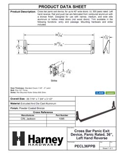 Product Data Specification Sheet Of A Cross Bar Panic Exit Device, UL Panic Rated, 36 In. Wide, Left Hand Reverse - Powder Coated Bronze Finish - Product Number PECL36PPB