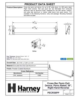 Product Data Specification Sheet Of A Cross Bar Panic Exit Device, UL Panic Rated, 36 In. Wide, Right Hand Reverse - Powder Coated Aluminum Finish - Product Number PECR36PP