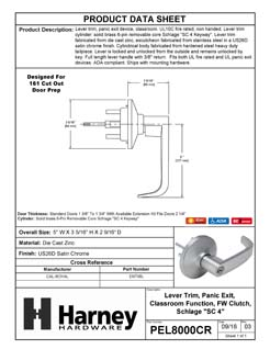 Product Data Specification Sheet Of A Panic Exit Device Classroom / Keyed Function Lever Trim - Satin Chrome Finish - Product Number PEL8000CR